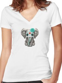 Teal Blue Day of the Dead Sugar Skull Baby Elephant Women's Fitted V-Neck T-Shirt