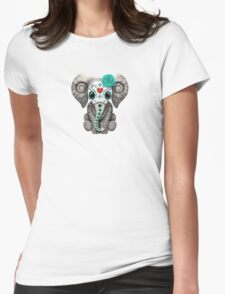 Teal Blue Day of the Dead Sugar Skull Baby Elephant Womens Fitted T-Shirt