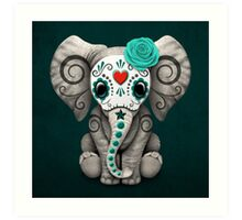 Teal Blue Day of the Dead Sugar Skull Baby Elephant Art Print