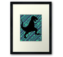 Tyrannosaurus Rex Dinosaur Chevron Framed Print