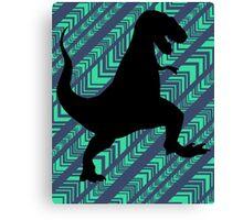 Tyrannosaurus Rex Dinosaur Chevron Canvas Print