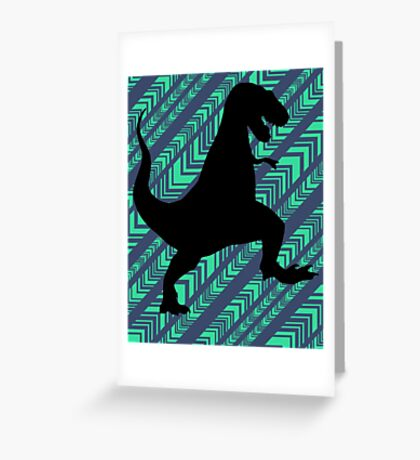 Tyrannosaurus Rex Dinosaur Chevron Greeting Card
