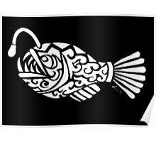 Angler Fish Tribal Design - White Poster