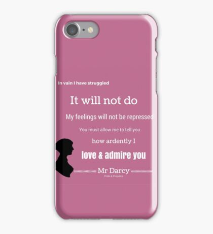 Jane Austen Pride & Prejudice Quote iPhone Case/Skin