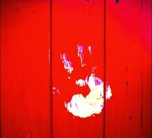 Red Fence, White Hand by beanphoto