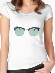 Vintage Sunglasses in Watercolor - Trendy/Summer/Hipster Style Women's Fitted Scoop T-Shirt