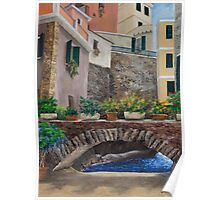 Italian Arched Bridge With Flower Pots Poster