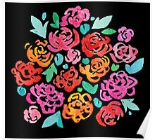 Peony & Roses on Black Poster