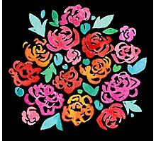 Peony & Roses on Black Photographic Print