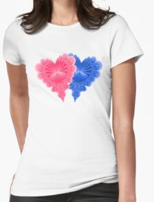 Double Hearts in Blue and Pink T-Shirt