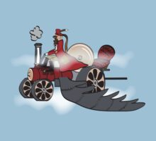 Igidious and his steam powered flying locomotive by Diana-Lee Saville