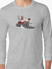 Igidious and his steam powered flying locomotive Long Sleeve T-Shirt