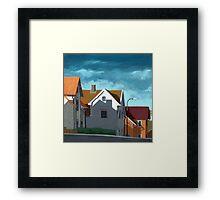 Row Houses - suburban street oil painting Framed Print