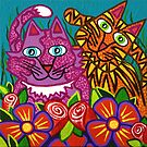 'Cracked Cats in the Garden'  by Lisa Frances Judd ~ QuirkyHappyArt