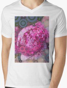 Percolated Peony Bloom Mens V-Neck T-Shirt