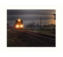 Early morning freight train Art Print