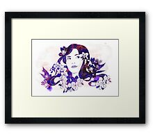 Pretty Girl with Orchids Framed Print