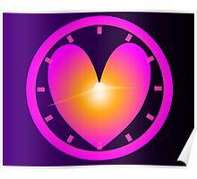 Heart Shape Clock Poster
