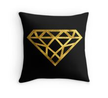 Diamond Faux Fold Foil with Black Background Throw Pillow