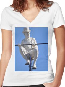 Guy on a Wire Women's Fitted V-Neck T-Shirt