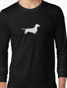 White Dachshund Silhouette Long Sleeve T-Shirt