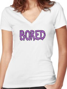BORED - purple Women's Fitted V-Neck T-Shirt
