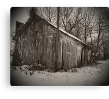 Old Shed in Snow Canvas Print
