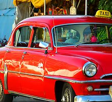 Red Cuban Taxi Cab by infiniteartfoto