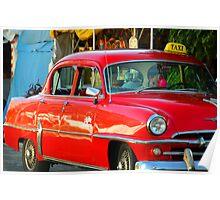 Red Cuban Taxi Cab Poster