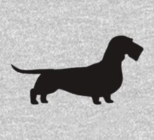 Wire Haired Dachshund Silhouette(s) Kids Tee