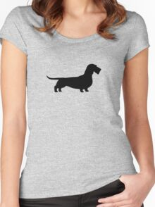 Wire Haired Dachshund Silhouette Women's Fitted Scoop T-Shirt