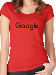 New Black Google Logo (September 2015) - Clear, High-Quality, Large Women's Fitted Scoop T-Shirt