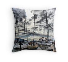 Oak Harbor Marina and Clouds Throw Pillow
