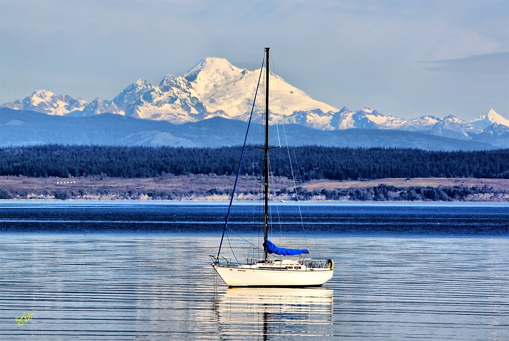 Waves, Boat, Mountain by Rick Lawler