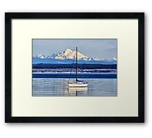 Waves, Boat, Mountain Framed Print