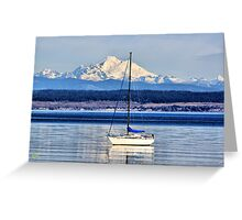 Waves, Boat, Mountain Greeting Card
