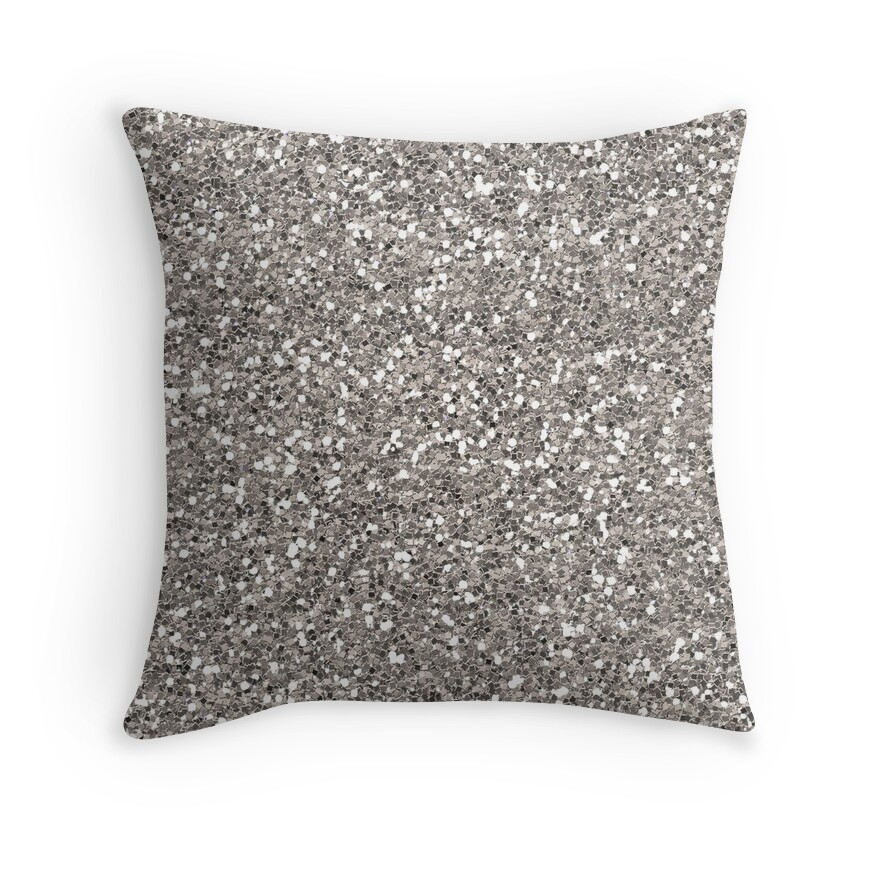 silver glitter throw pillows redbubble. Black Bedroom Furniture Sets. Home Design Ideas