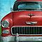 55&#x27; Chevy Vintage Car oil painting by LindaAppleArt