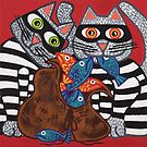 'Cracked Cat-Burglars' - Naughty Pussy Cats! by Lisa Frances Judd ~ Original Australian Art