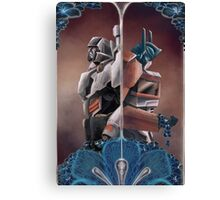 Optimus and Megatron and the Blue Flowers Canvas Print