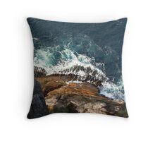 Waves crashing on the shore Throw Pillow