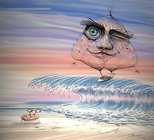Red Onion Surfin the Sunset Shore Break by Tom Godfrey