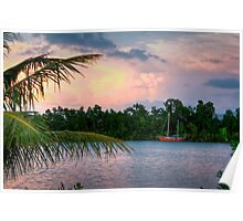 Boat on the Johnstone (River, Innisfail Nth Qld) Poster