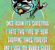 Surly Elf Christmas Card by KenRinkel
