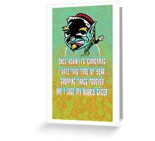 Surly Elf Christmas Card Greeting Card