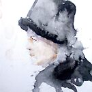 Woman In A Cool Hat; watercolors by pauldrobertson