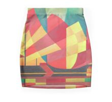 Cubist Abstract of Junk Sails and Ocean Skies Mini Skirt