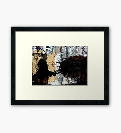 The stranger grieves while he walks forward to the machinery Framed Print
