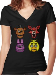 Five Nights at Freddy's 1 - Pixel art - The Classic 4 Women's Fitted V-Neck T-Shirt