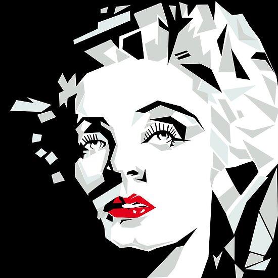 Cubist portrait of actress Marlene Dietrich by alvaroc